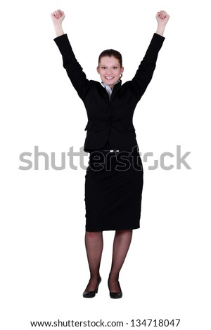 Excited young businesswoman - stock photo