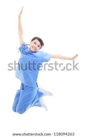 Excited young female doctor or nurse happy jumping high isolated on white background, model is a asian woman - stock photo