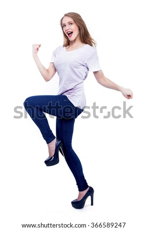 Excited Young Woman on white isolated - Stock Image - stock photo