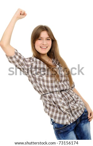 Excited youngwoman enjoying success on white background - stock photo