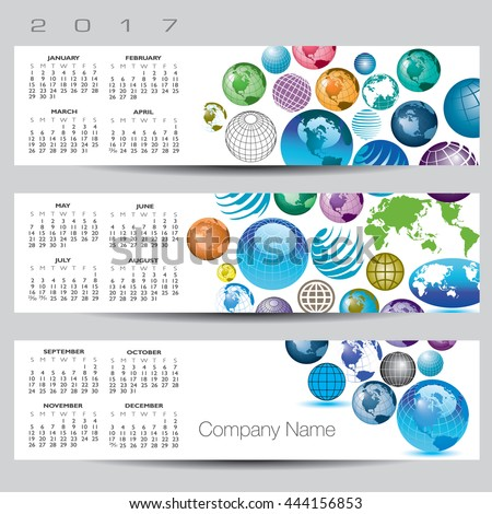 Exciting and colorful globe calendar for 2017 - stock photo