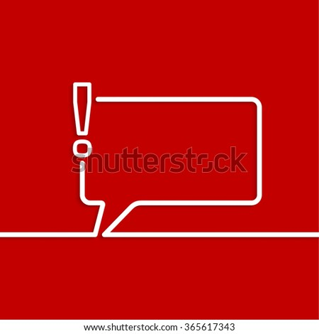 Exclamation mark icon. Attention sign icon. Hazard warning symbol in red background.  Speech Bubbles and Chat symbol.  - stock photo