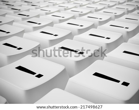 Exclamation marks on white computer keyboard - stock photo