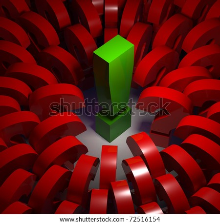 Exclamation point surrounded by question marks. Social leader conceptual image. 3d - stock photo