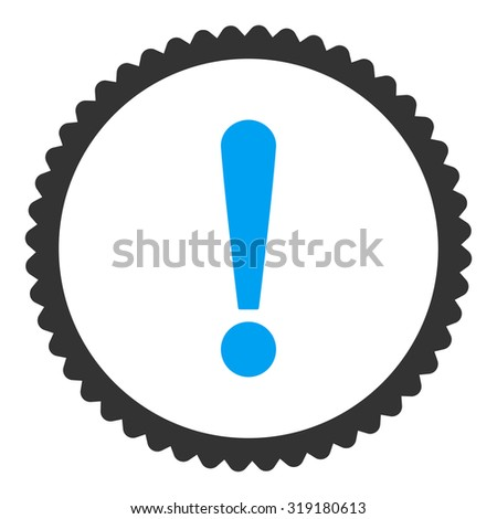 Exclamation Sign round stamp icon. This flat glyph symbol is drawn with blue and gray colors on a white background. - stock photo