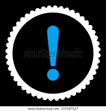 Exclamation Sign round stamp icon. This flat glyph symbol is drawn with blue and white colors on a black background. - stock photo