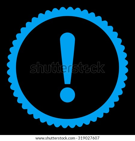 Exclamation Sign round stamp icon. This flat glyph symbol is drawn with blue color on a black background. - stock photo