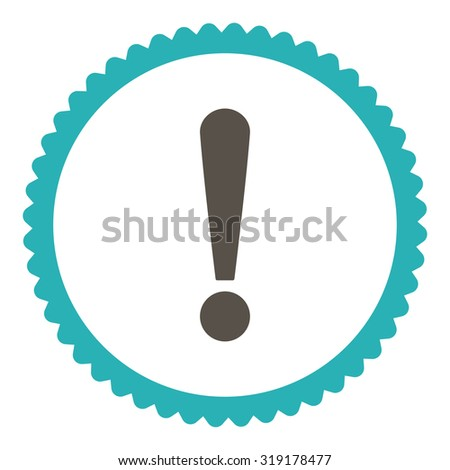 Exclamation Sign round stamp icon. This flat glyph symbol is drawn with grey and cyan colors on a white background. - stock photo