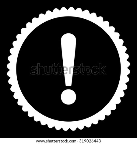 Exclamation Sign round stamp icon. This flat glyph symbol is drawn with white color on a black background. - stock photo