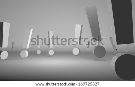 Exclamation signs - stock photo