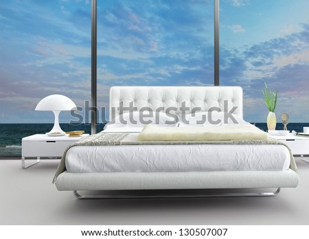 Exclusive Design Bedroom with aerial view - stock photo