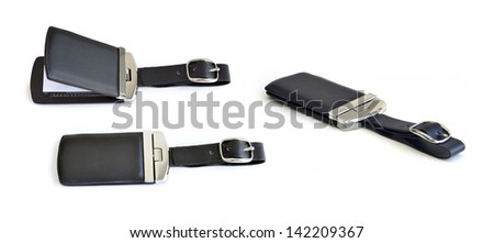 exclusive leather luggage name tag - stock photo