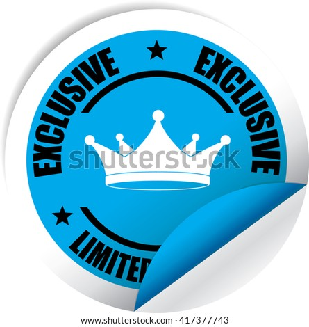 Exclusive Limited Edition Blue Label, Sticker, Tag, Sign And Icon Banner Business Concept, Design Modern. - stock photo