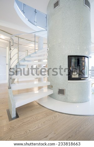 Exclusive marble stairs leading on the first floor - stock photo
