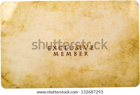 Exclusive Member Card Isolated On White - stock photo