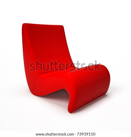 Exclusive red armchair isolated on white - stock photo