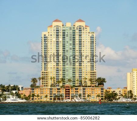 Exclusive waterfront apartments in Miami Beach, Florida - stock photo