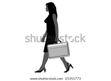 Exclusive young businesswoman with briefcase - stock photo