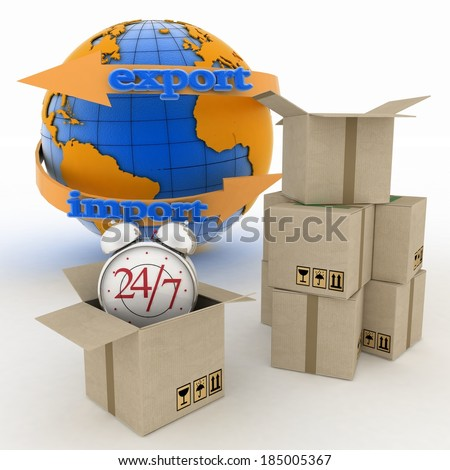 Executing online delivery of goods in the stream 24 hours. Logistics concept. 3d illustration on white background - stock photo