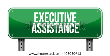 executive assistance street sign concept illustration design graphic - stock photo
