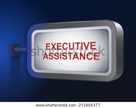 executive assistance words on billboard over blue background - stock photo