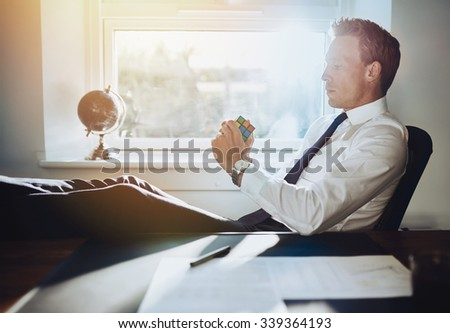 Executive business man solving problems and getting ideas for new business concepts - stock photo