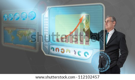 Executive business man touching future dashboard for success - stock photo
