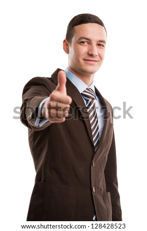 Executive giving thumbs up isolated on white background - stock photo