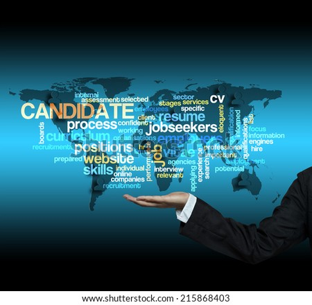"Executive hand hold ""CANDIDATE word cloud arrangement"" - stock photo"