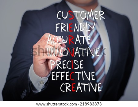 Executive hand writing Service acronym in business concept. - stock photo
