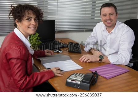 Executive Manager  with his employee at work - stock photo