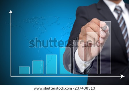 Executive pointing on graph performance - stock photo