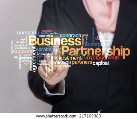 "Executive press virtual Screen-""BUSINESS PARTNERSHIP word cloud arrangement"" - stock photo"