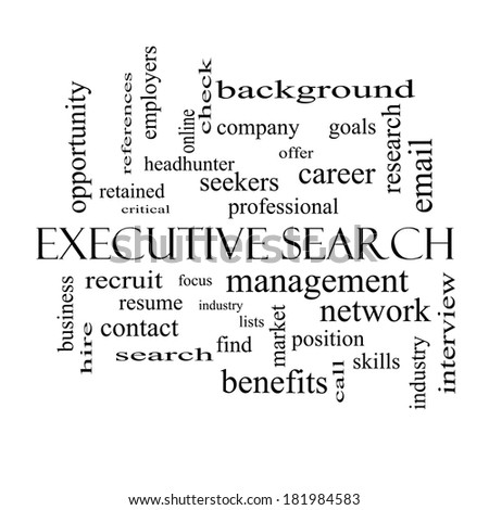 search word cloud concept in black and white with great terms