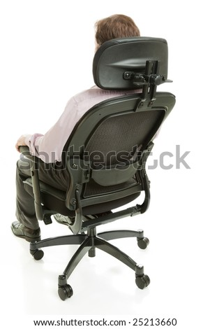 Executive sitting in a fully adjustable ergonomic office chair.  Full body isolated on white. - stock photo