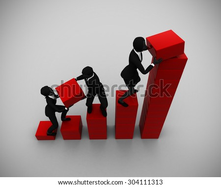 Executive team collaborates on a Bar Chart. An executive team collaborates on a bar chart indicating progress. - stock photo