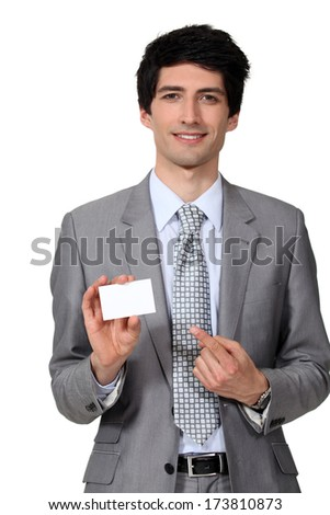 Executive with business card - stock photo