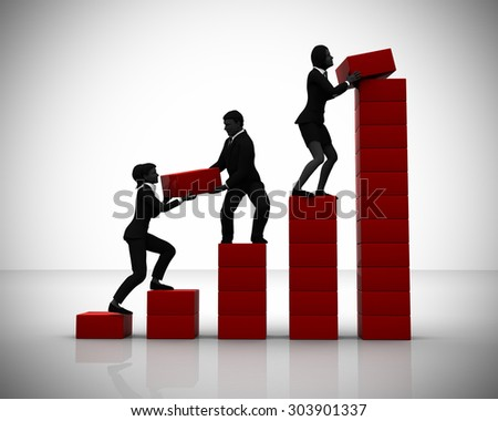 Executives working on a Bar Chart in teamwork. Executives in teamwork collaborate on a bar chart indicating progress. - stock photo
