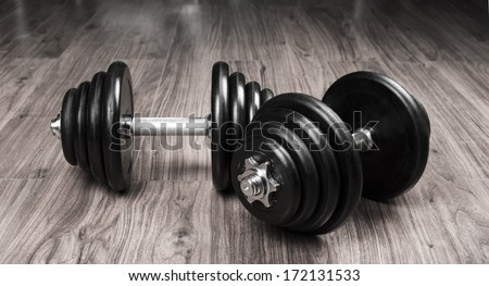 Exercise hand weights isolated on a white background - stock photo