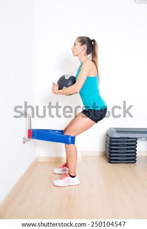 exercise with medicine ball - stock photo
