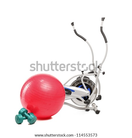 Exercising fitness equipment isolated on white background - stock photo