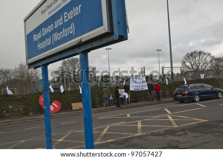 EXETER - MARCH 7:  The Royal Devon & Exeter entrance sign, during the NHS reform protest outside the Royal Devon & Exeter Hospital on March 7, 2012 in Exeter, UK - stock photo