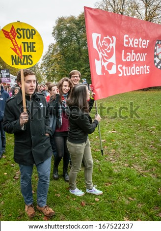 EXETER - NOVEMBER 16: Exeter Labour students join the march during the Exeter Together march and diversity festival on November 16, 2013 in Exeter, Devon, UK - stock photo