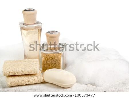 Exfoliation spa still life on a white aged background - stock photo