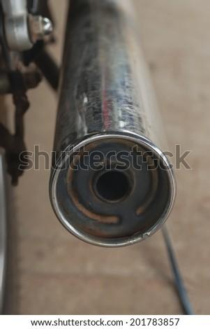 Exhaust of motorcycle - stock photo