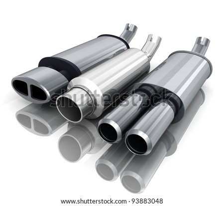 exhaust-pipe on isolated background (done in 3d) - stock photo