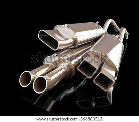 exhaust silencer automobile muffler on a black background - stock photo