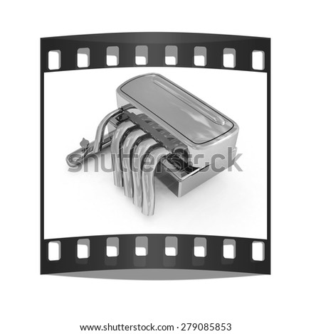 Exhaust system on a white background. The film strip - stock photo