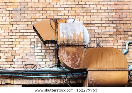 Exhaust ventilation pipe on building  - stock photo