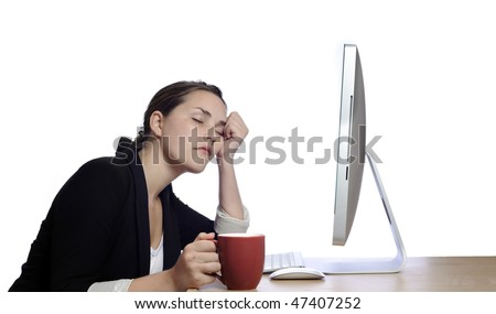 Exhausted business woman rests her head - stock photo